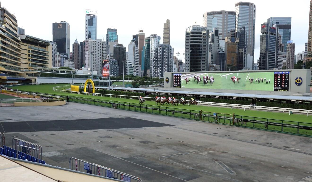 Horses race at an empty Happy Valley last season.