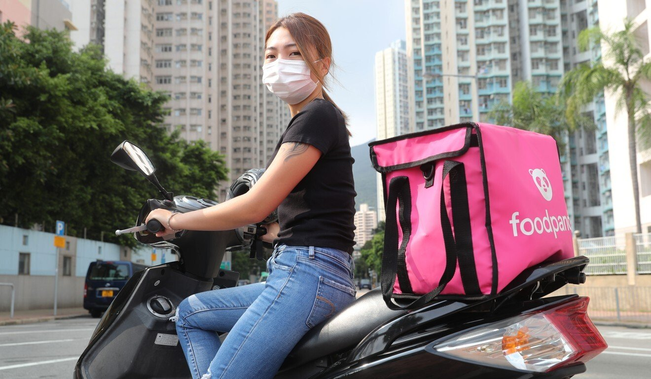Toby Leung has supplemented her income as a hairdresser by delivering food. Photo: Edmond So
