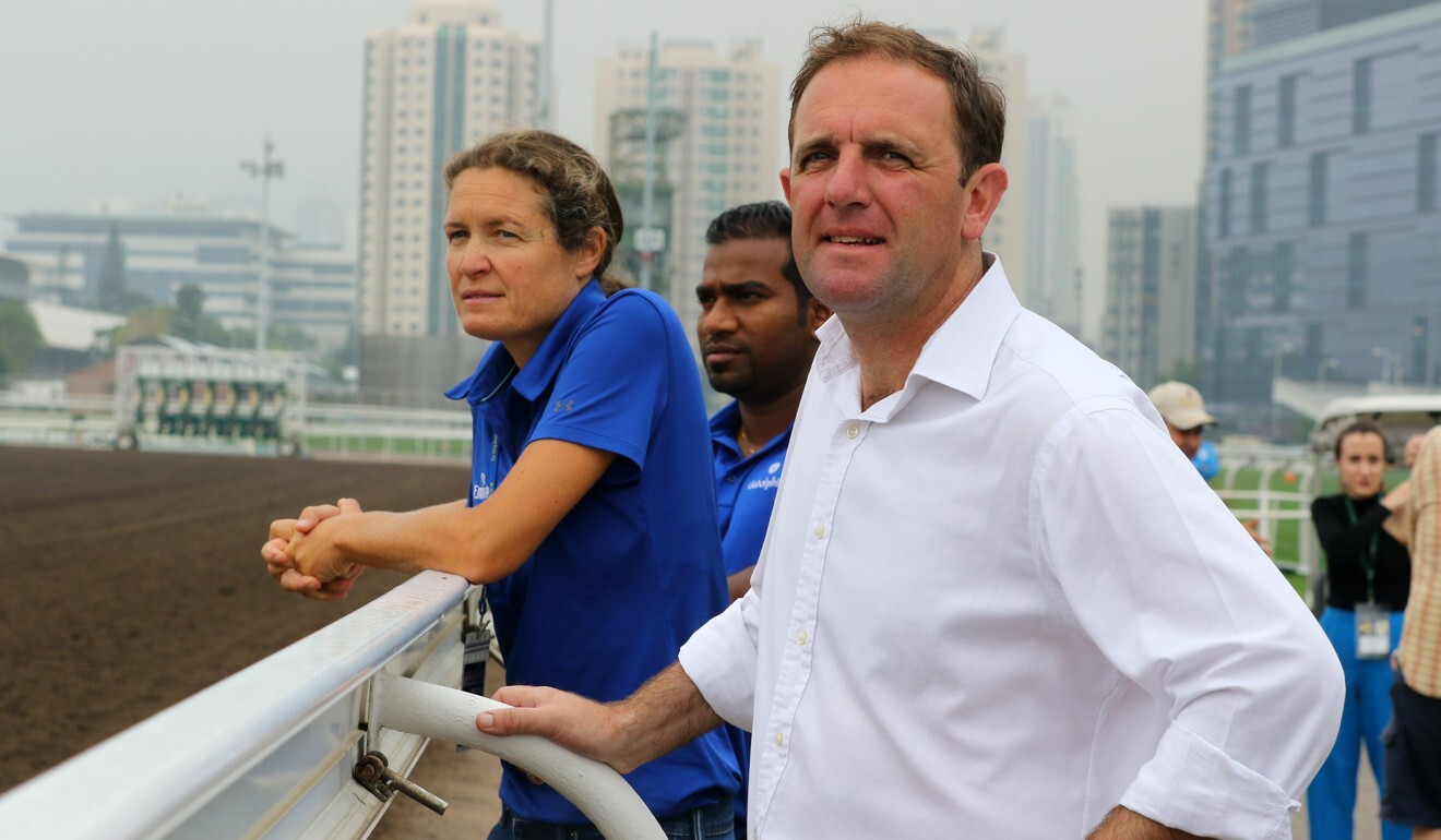 Godolphin trainer Charlie Appleby watches Blue Point work at Sha Tin in 2018. Photo: Kenneth Chan
