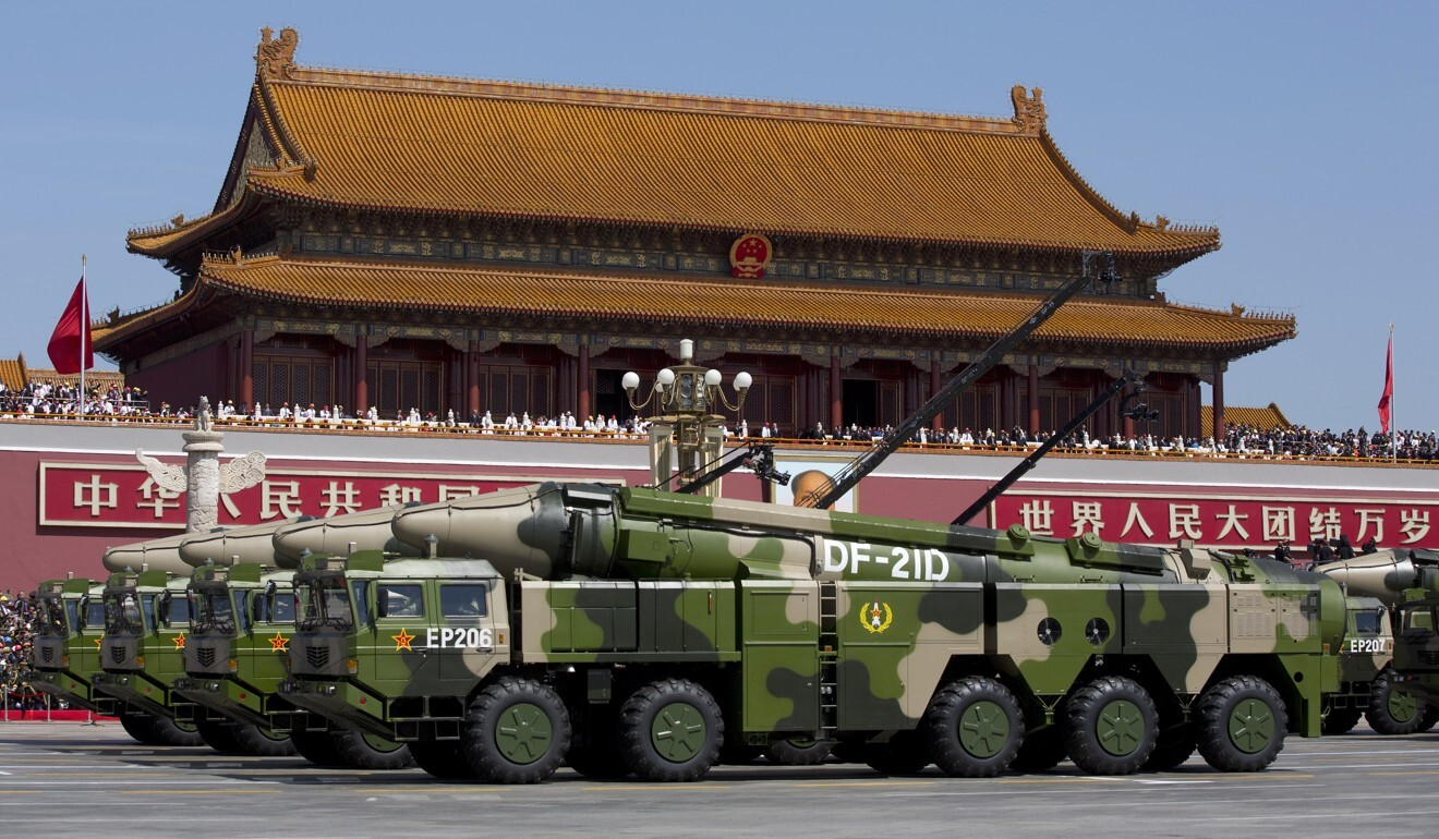 Chinese military vehicles in front of Tiananmen Gate during a military parade in Beijing. Photo: AP