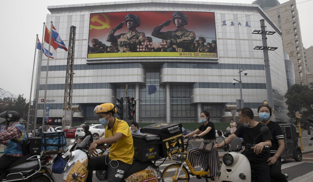 A Chinese military poster in Beijing. Photo: AP