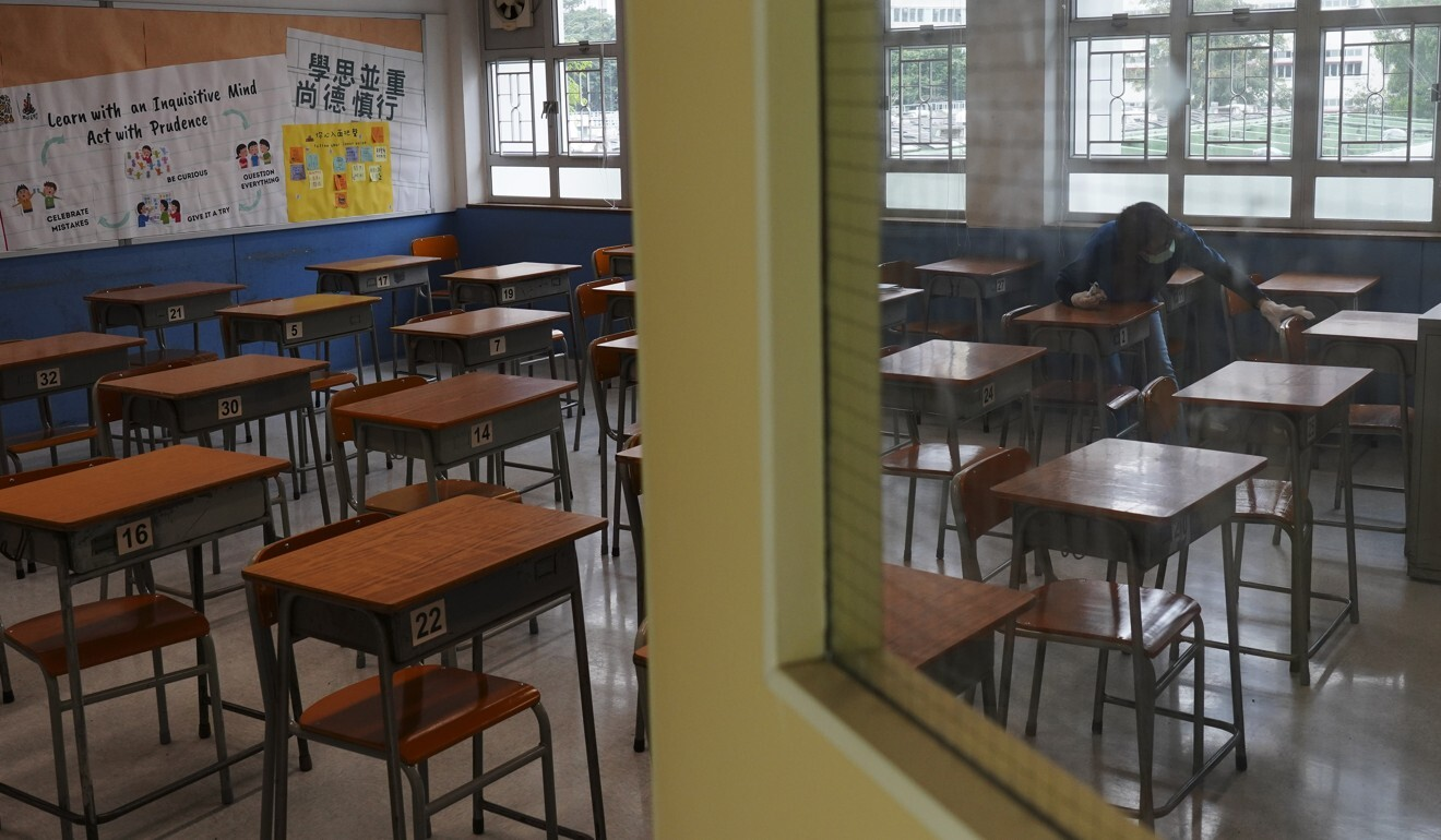 Hong Kong classrooms have been empty for months because of the pandemic. Photo: Robert Ng