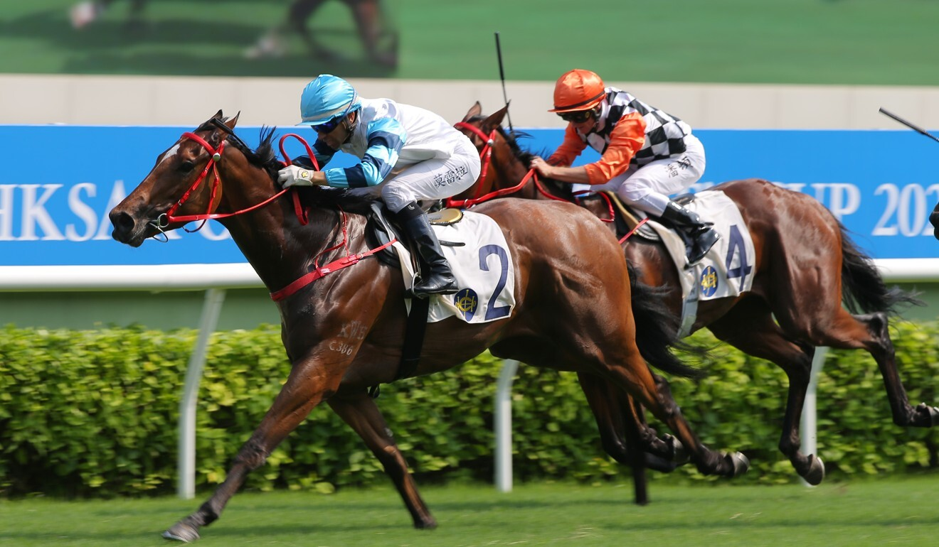 Joao Moreira pushes out Leap Of Faith to win at Sha Tin.