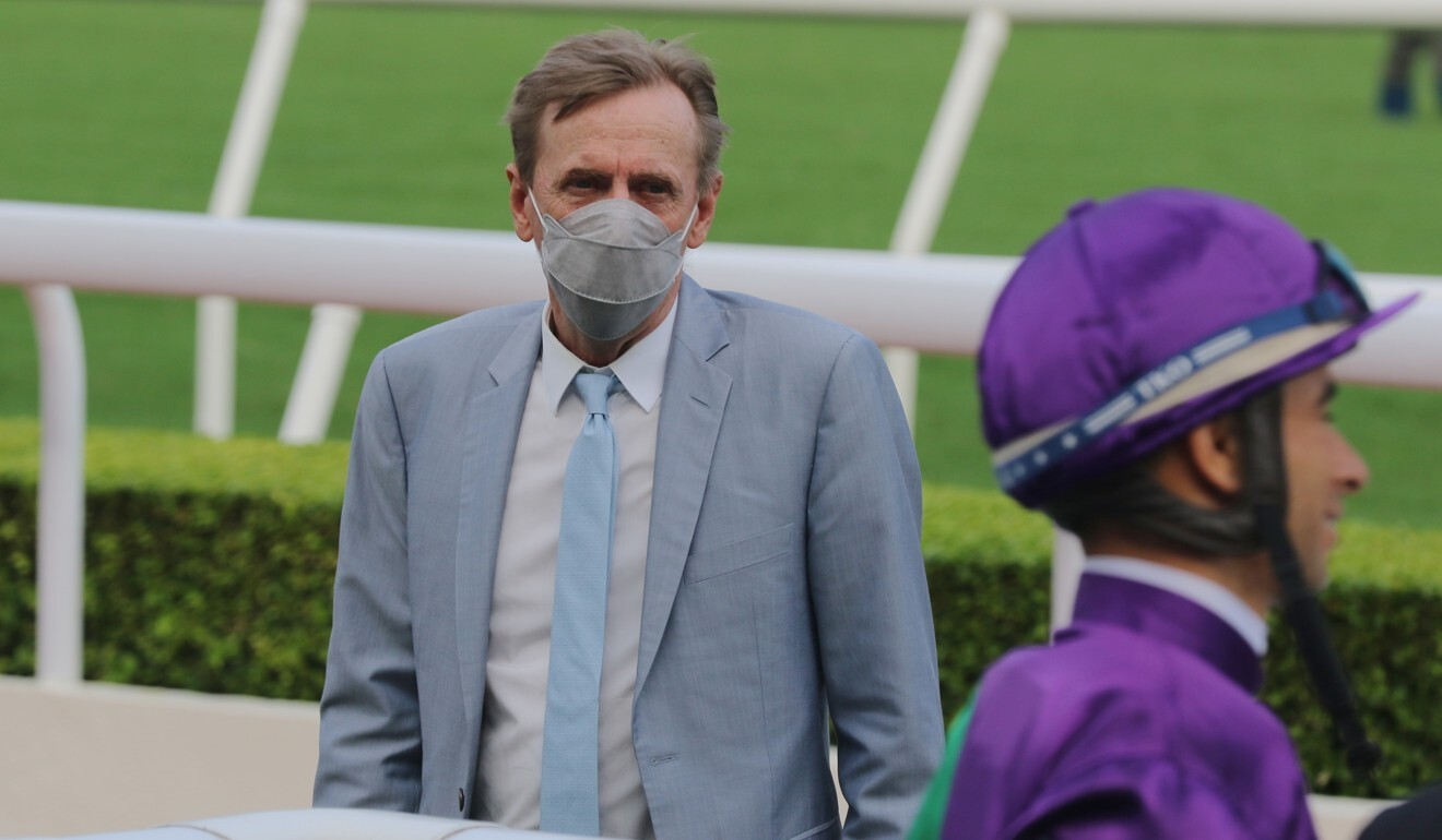 John Size in the winner's enclosure after the win of Excellent Proposal at Sha Tin on Sunday.