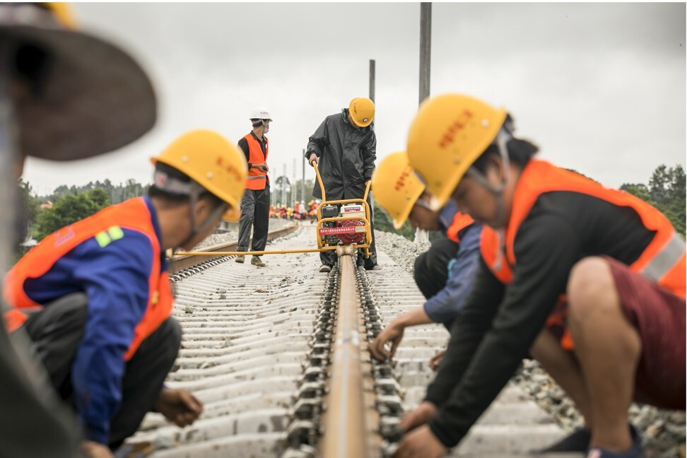 Workers at the site of the China-Laos railway in Vientiane. Photo: Xinhua