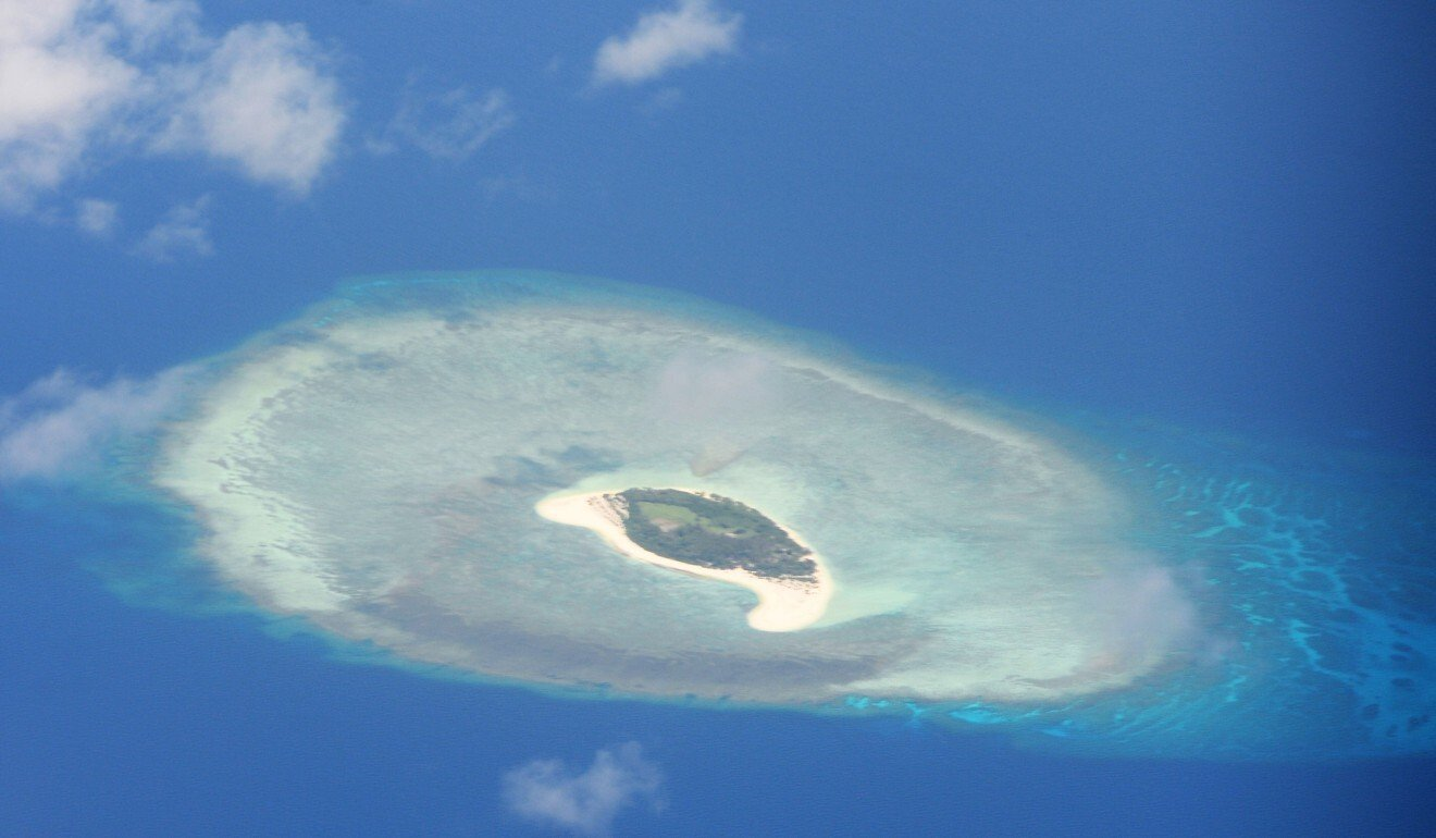 An aerial shot of a reef in the disputed Spratly islands. Photo: AFP