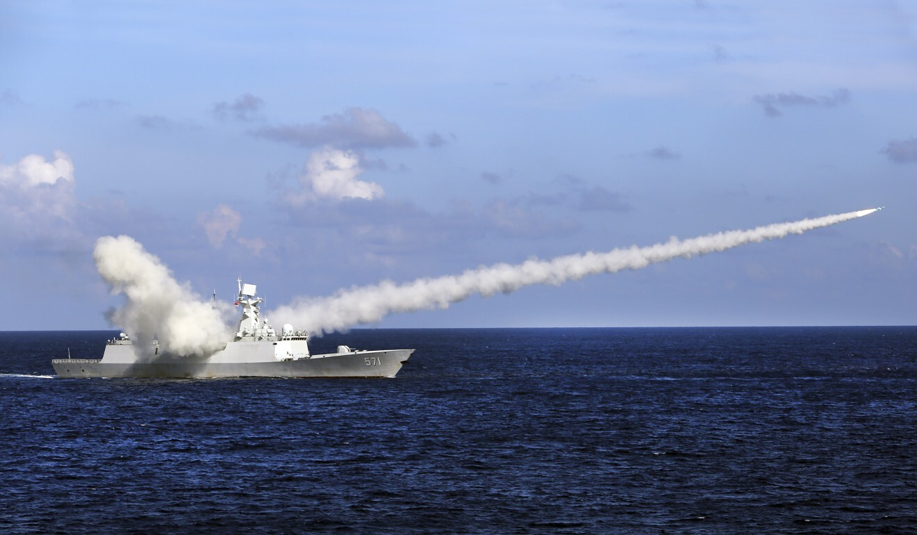 Chinese missile frigate Yuncheng launches an anti-ship missile during a 2016 military exercise in the waters near Hainan Island and the Paracel Islands. Photo: AP