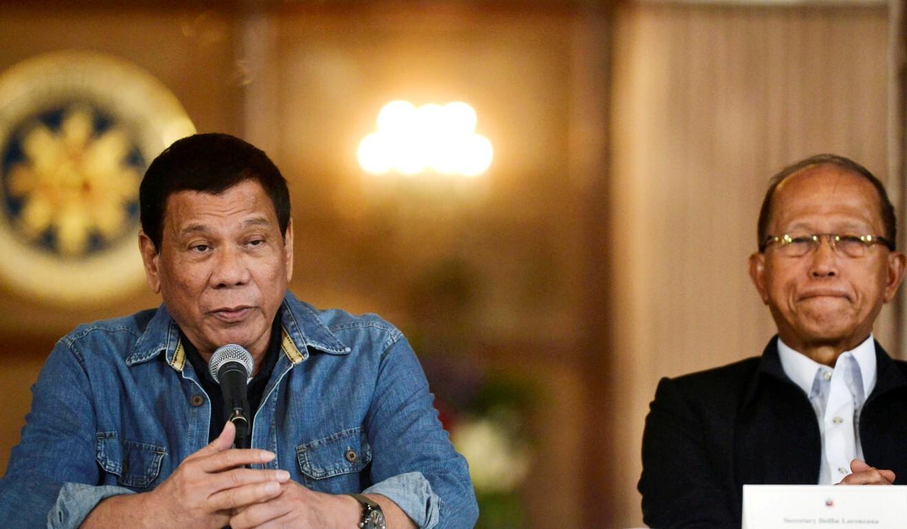 Philippine President Rodrigo Duterte (left) and Defence Secretary Delfin Lorenzana. Photo: Reuters