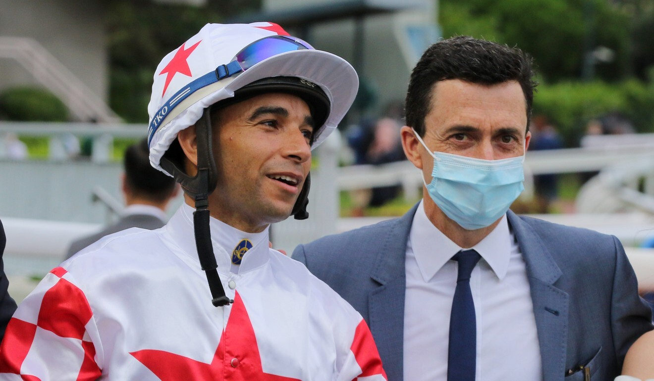 Joao Moreira with Douglas Whyte after Inner Flame's win last season.