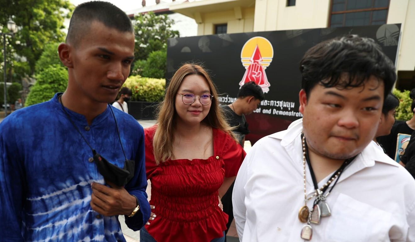 Student leaders Panupong Jadnok, Panusaya Sithijirawattankul and Parit Chiwarak at the Thammasat University in Bangkok. Photo: Reuters