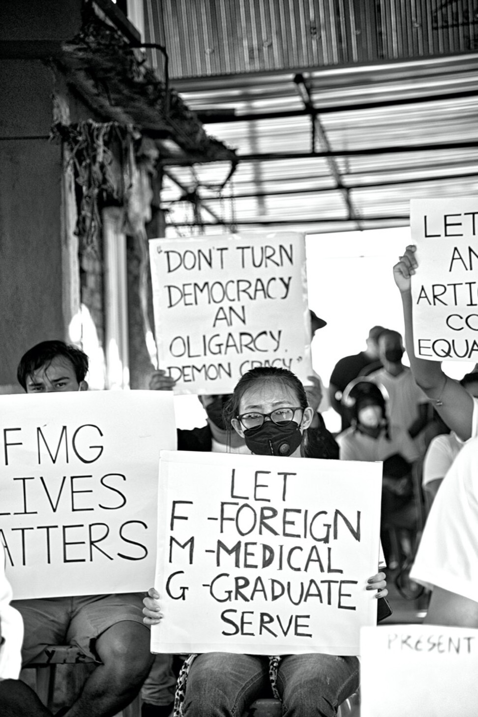 Students from Manipur at a protest demanding lower pass marks for the FMGE. Photo: Indian foreign medical students welfare society
