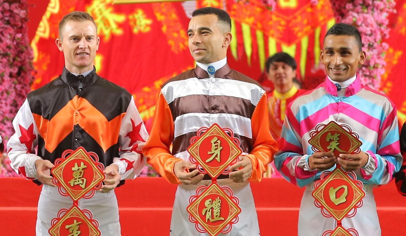 Zac Purton, Joao Moreira and Karis Teetan.
