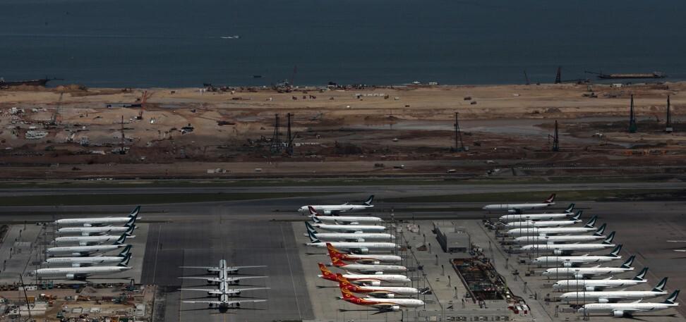 Cathay Pacific and Hong Kong Airlines aircraft are grounded at the Hong Kong International Airport. Photo: May Tse