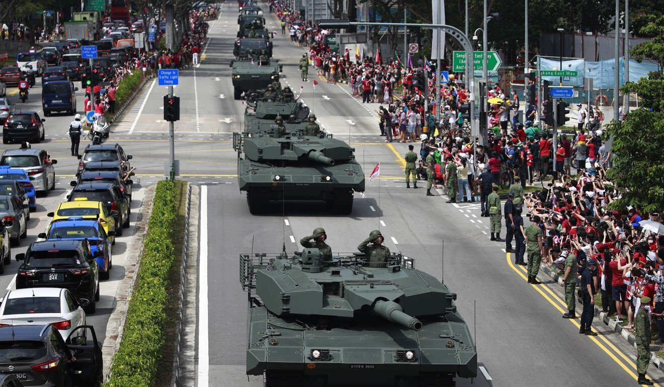 The Singapore military puts on a display for National Day. Photo: EPA