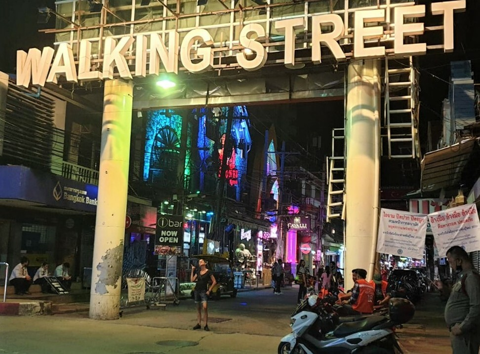 Beatrice at the entrance of Walking Street in Pattaya. Photo: Red Door News/Christian and Beatrice Meier