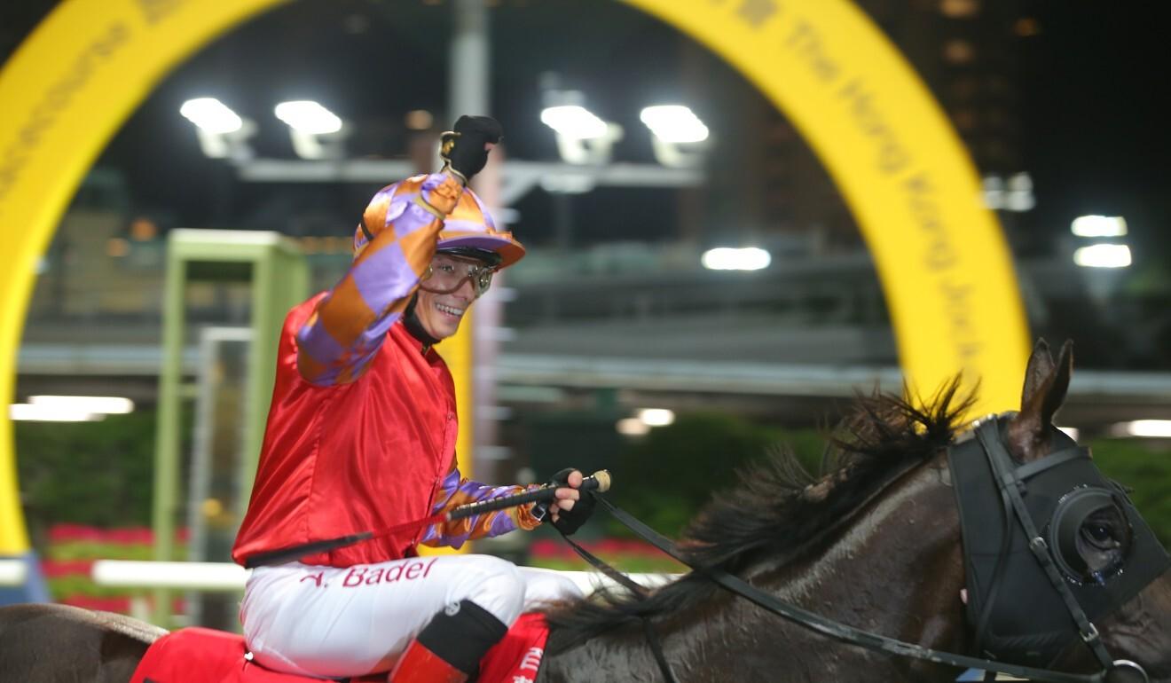Alexis Badel salutes to Douglas Whyte after winning aboard Tashidelek on Wednesday night.