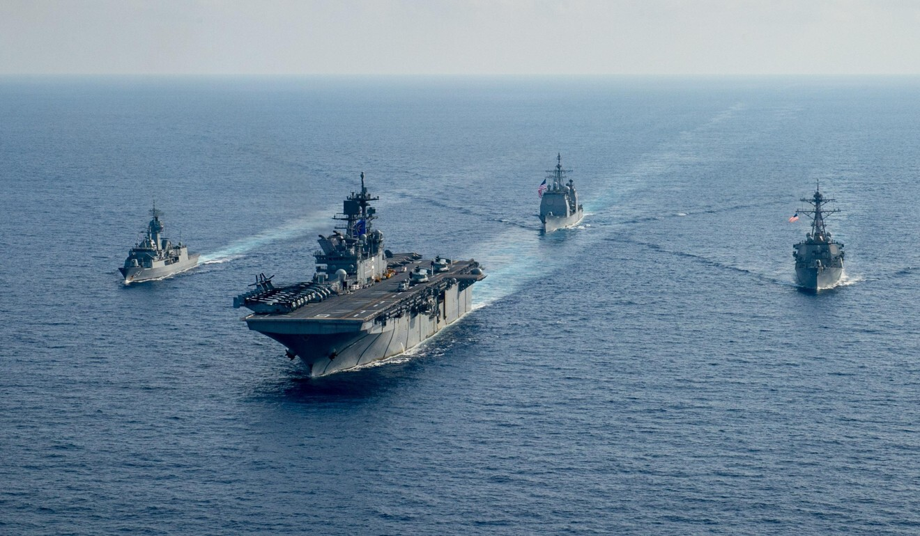 US vessels are seen in the South China Sea. Photo: Reuters