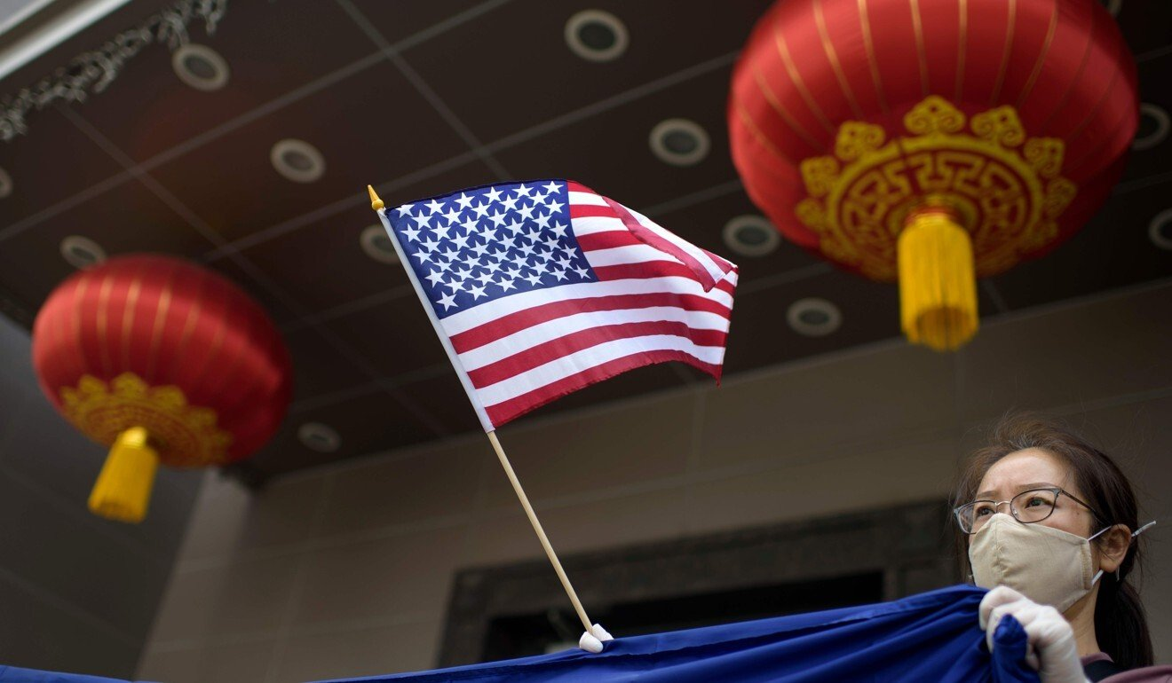 A US flag is seen outside a Chinese consulate. Photo: AFP