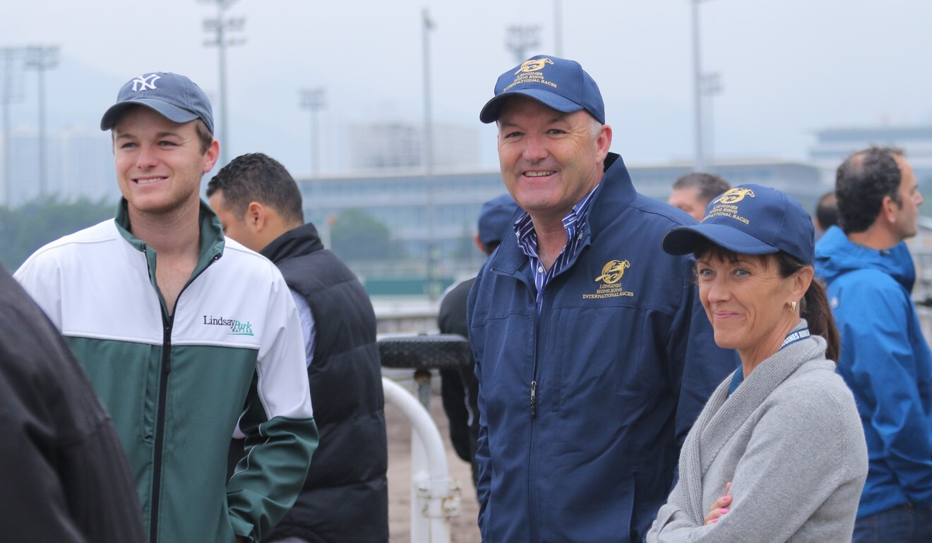 Trainer David Hayes (centre) with his wife Prue and son Ben at Sha Tin in 2015.