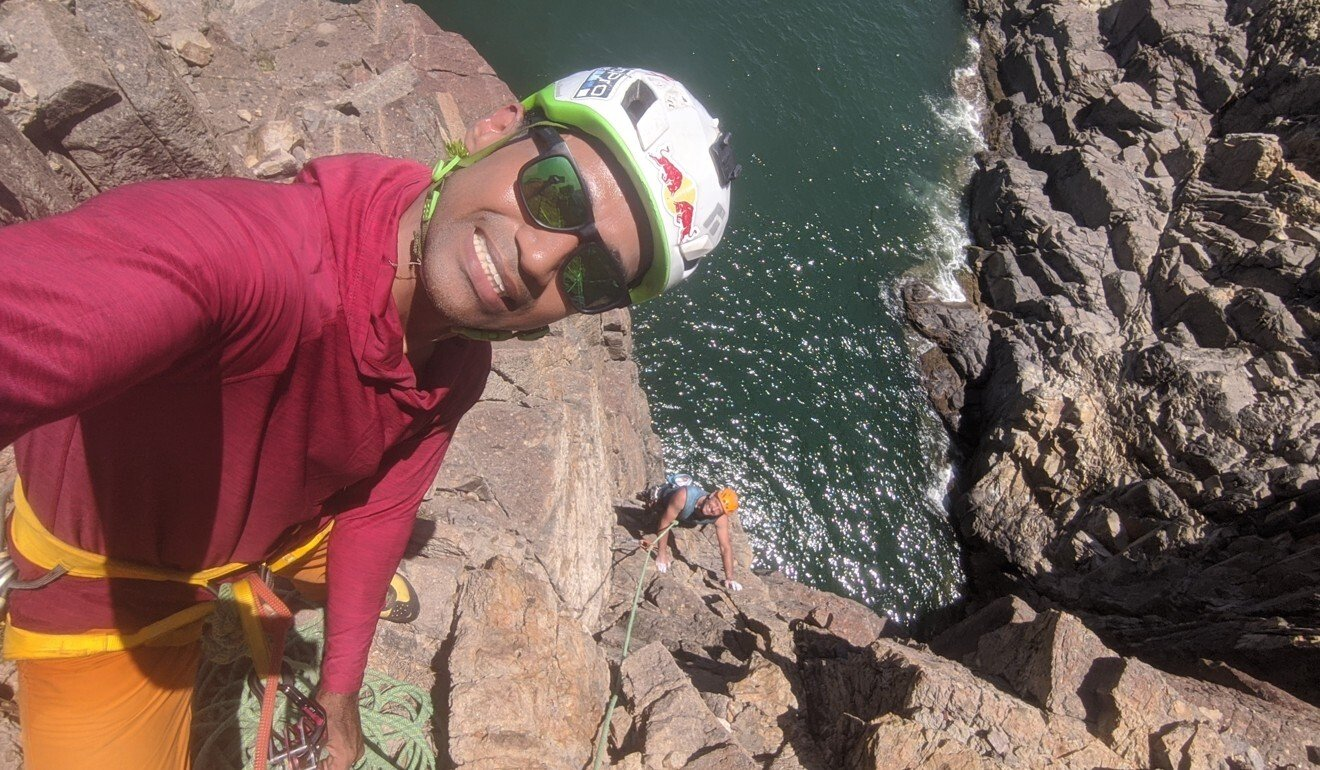 Ron Roy climbing on Tung Lung Island.
