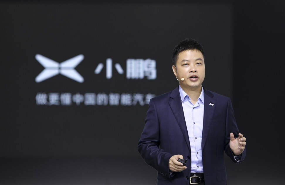 XPeng Motor's CEO He Xiaopeng unveils its Kiwigogo flying car, at the 2020 Beijing International Automobile Exhibition on Saturday September 26, 2020. Photo: Simon Song