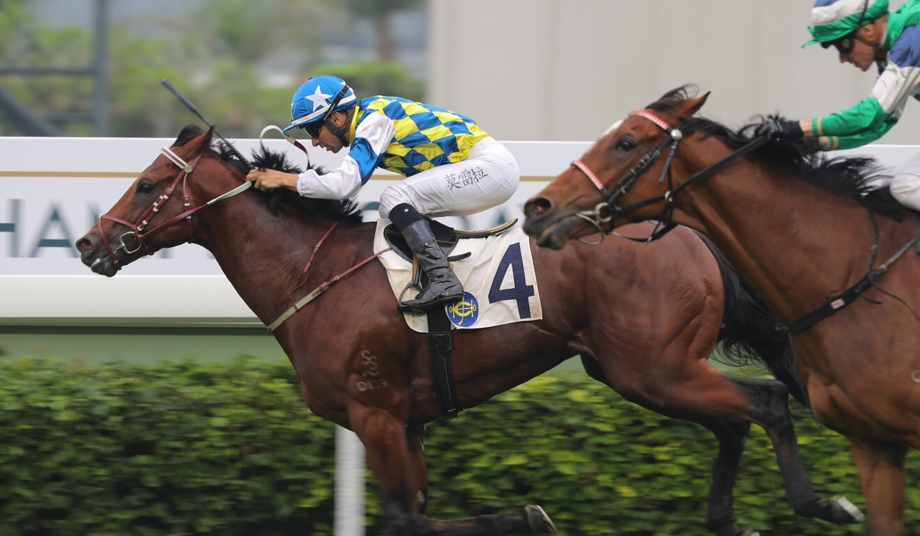 Joao Moreira holds off his rivals to win on Computer Patch.