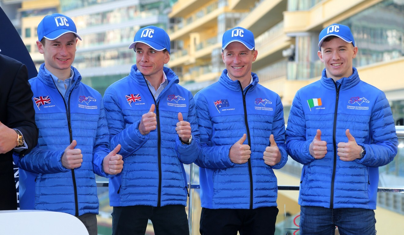 Oisin Murphy, Ryan Moore, James McDonald and Colin Keane at the International Jockeys' Championship press conference at Happy Valley last year.