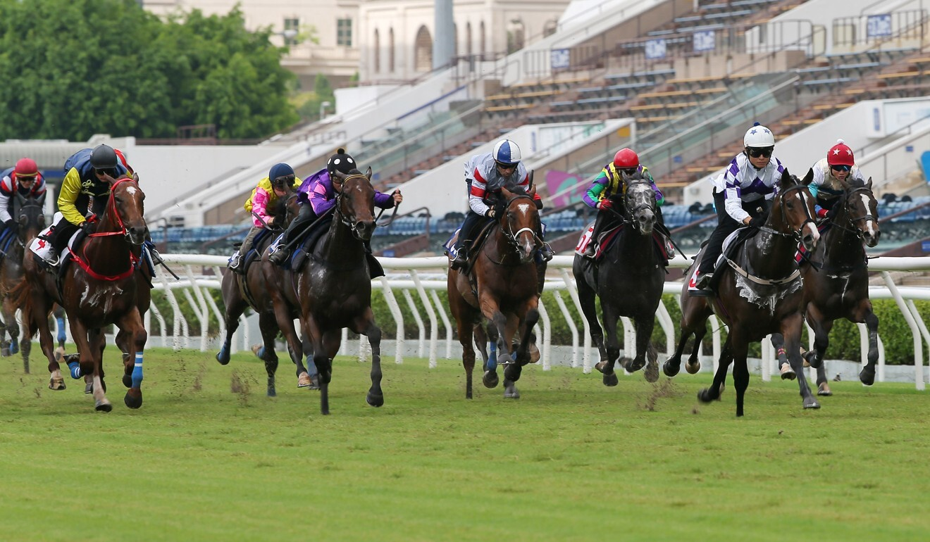 Give Way Please rolls past his rivals in a barrier trial at Sha Tin.