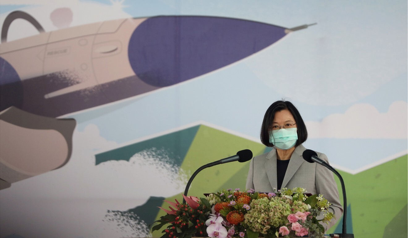 President Tsai Ing-wen attends an inauguration ceremony for the F-16 fighter jet maintenance centre in Taichung on August 28. Photo: Reuters