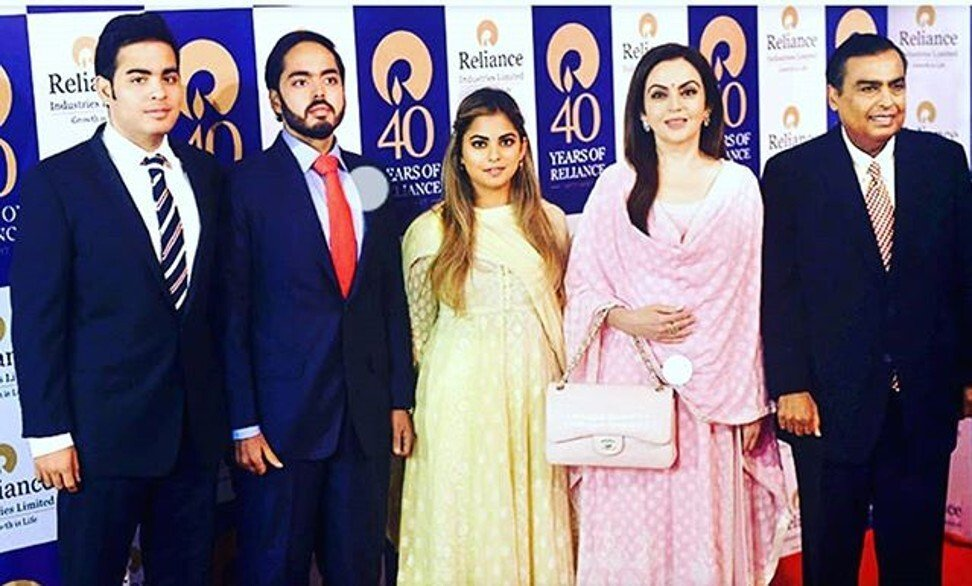The Ambani family: Akash, Anant, Isha, Nita Ambani and Mukesh Ambani. Photo: @nita_mukesh_ambani/Instagram