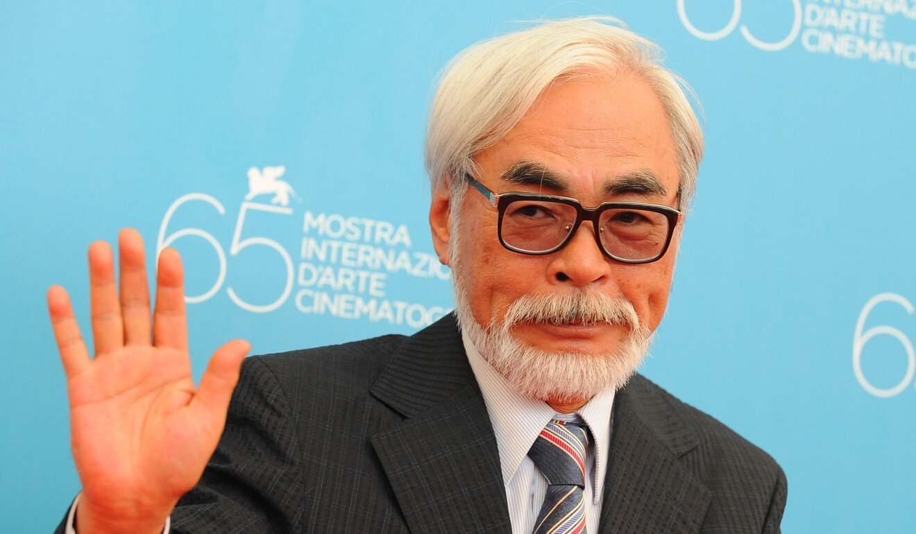 Miyazaki waves to photographers during the premiere for his movie Ponyo on the Cliff during the 65th Venice International Film Festival in Venice, Italy. Photo: AFP