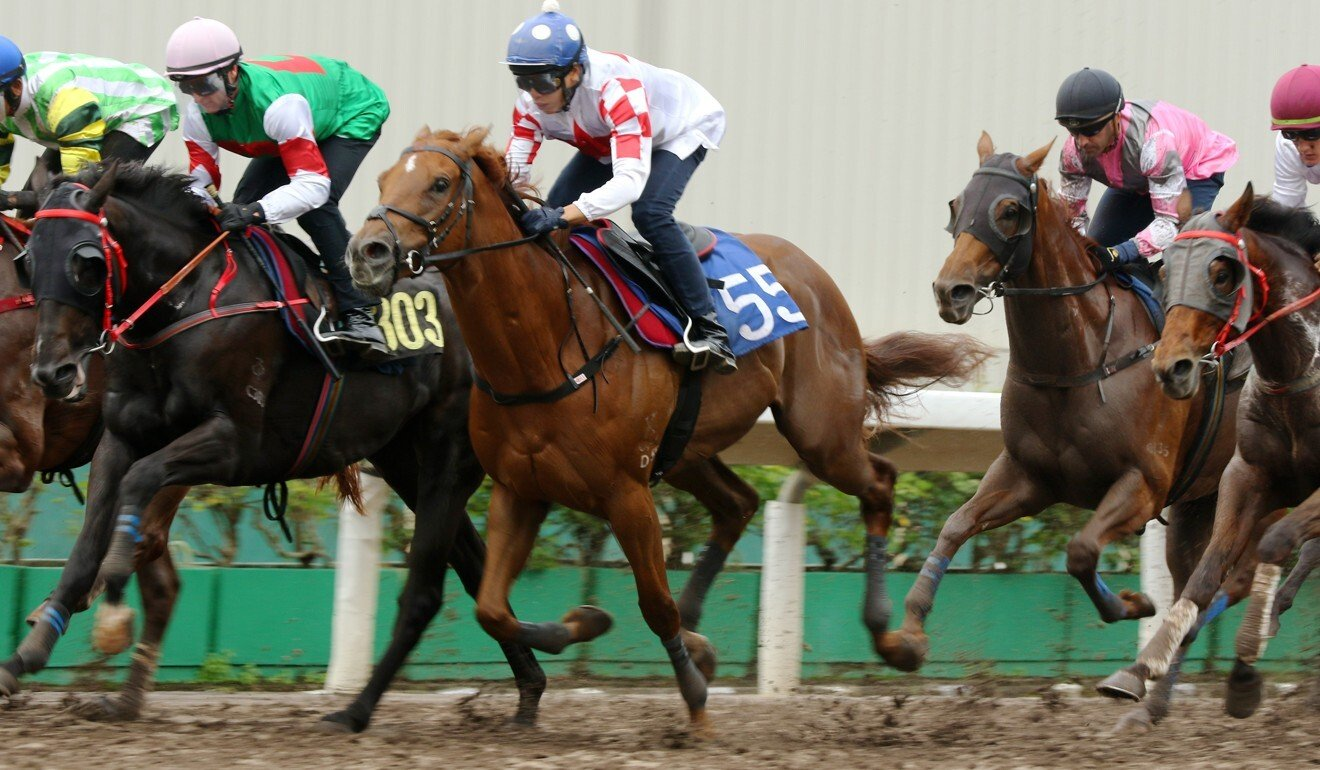 Inner Flame on his way to dead-heating for first with Star Of Yuen Long in a trial on September 29.
