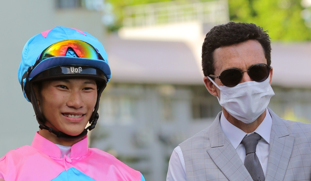 Jockey Jerry Chau and trainer Douglas Whyte celebrate a win with Private Rocket, who they combine with again at Sha Tin on Sunday.