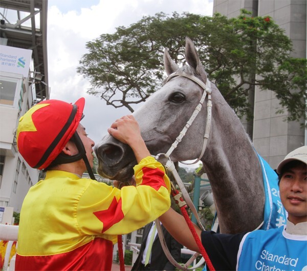 Matthew Chadwick gives California Memory a kiss after winning the Champions & Chater Cup.