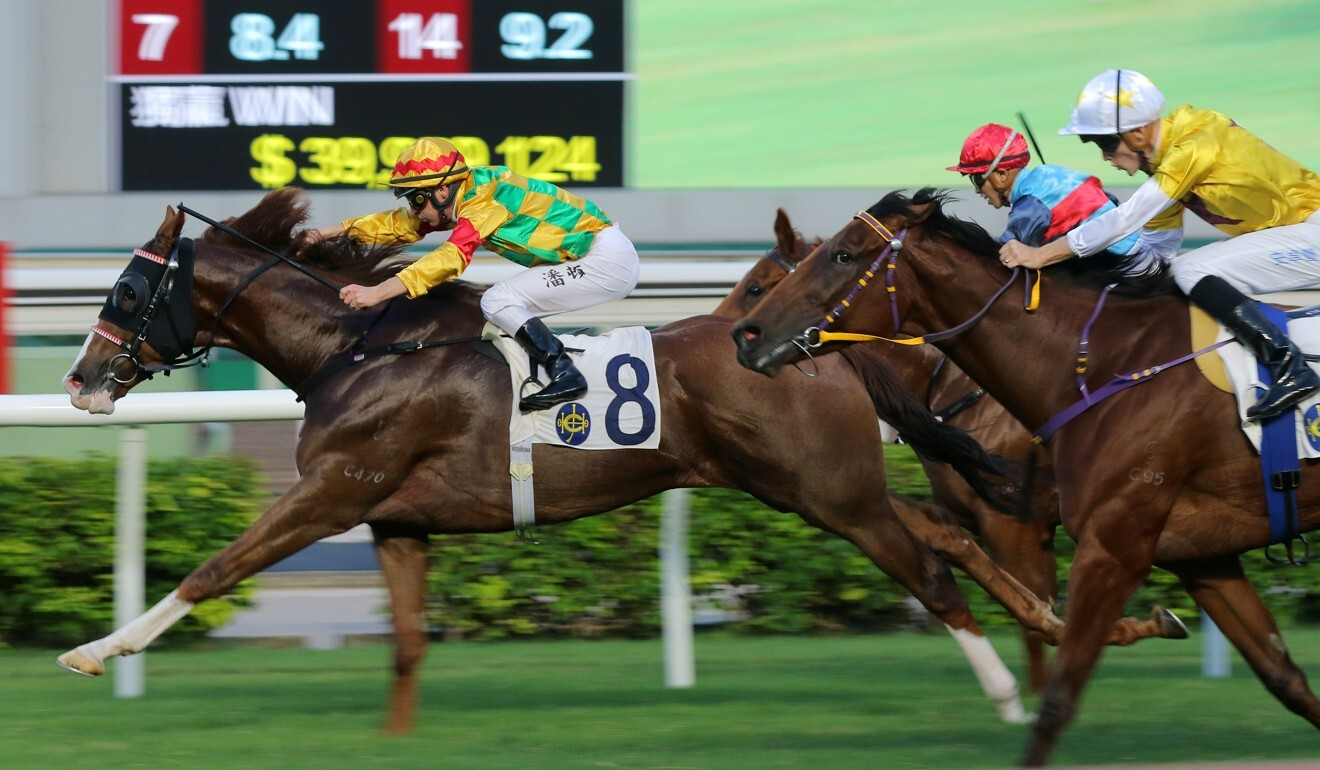 Not Usual Talent (outside) chases home Mighty Giant at Sha Tin.