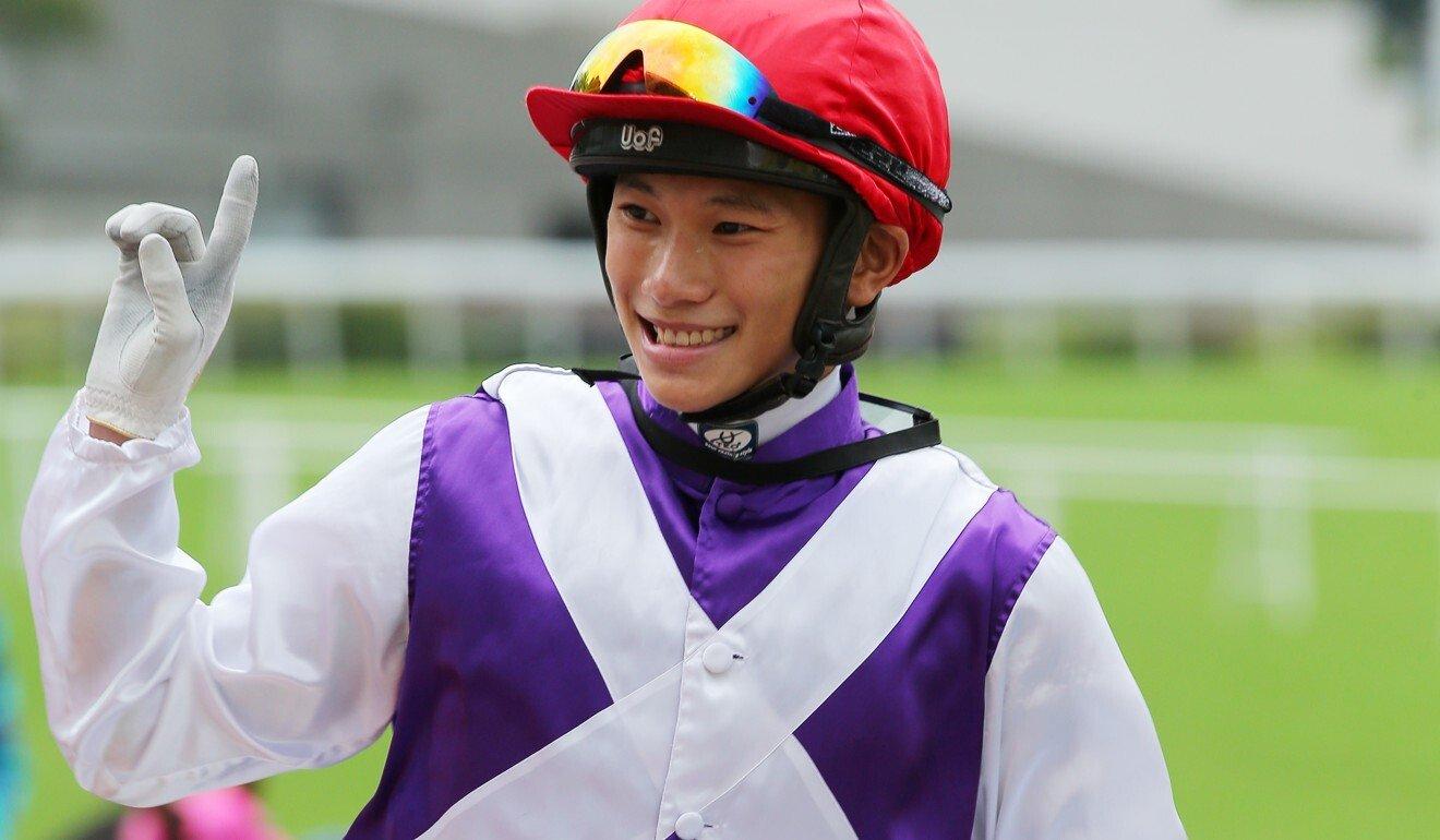 Jerry Chau celebrates one of his four winners so far this season.