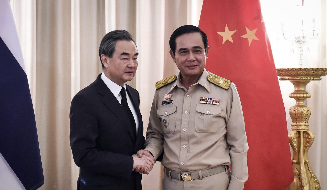 Chinese Foreign Minister Wang Yi, left, and Thai Prime Minister Prayuth Chan-ocha in Bangkok in July 2017. Photo: AFP