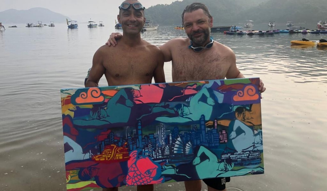 Mayank Vaid and Gustav 'Szabotage' Szabo with the art that will help raise funds for charity.