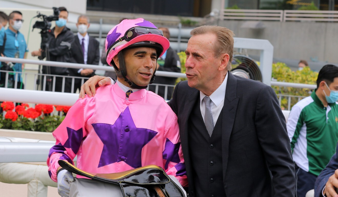 Joao Moreira with John Size after a Hot King Prawn victory.