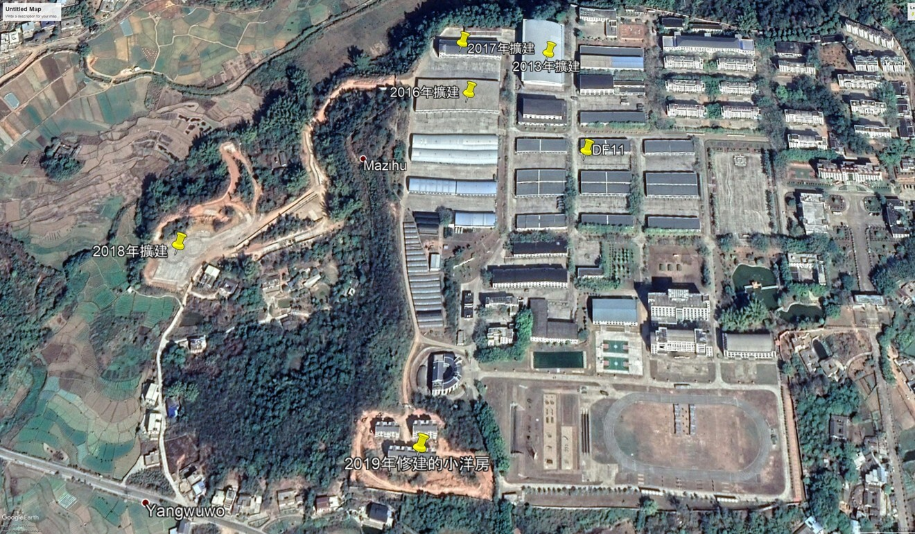 A satellite image shows how a base in Puning in Guangdong has expanded in recent years. Photo: Kanwa Defence Review