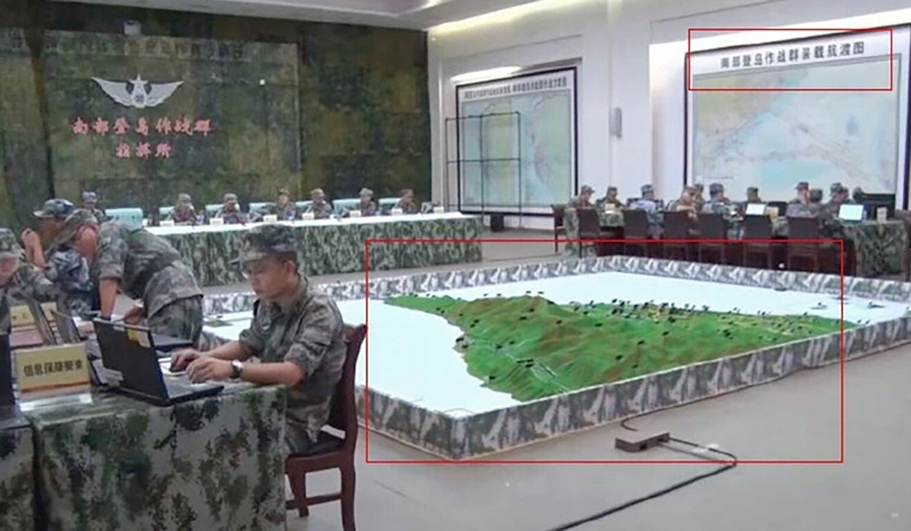 A 3D model of southern Taiwan at a PLA Southern Theatre Command centre. Photo: Handout