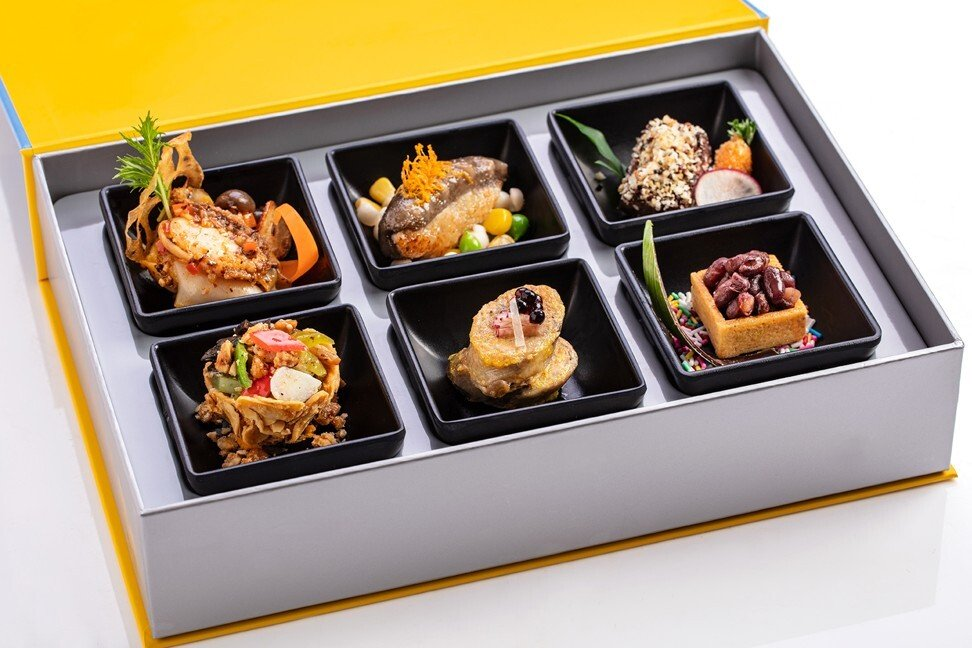 People can order gourmet takeaway boxes to accompany the online sessions, such as this one from the Royal Plaza Hotel. Photo: Handout