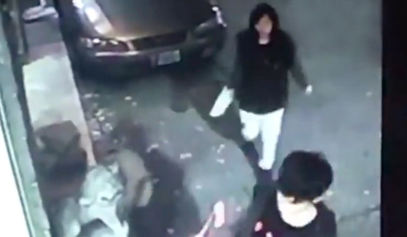 CCTV footage from the Purple Garden Hotel in Taipei shows Poon Hiu-wing (rear) and Chan Tong-kai (front) shortly before the former's death. Photo: Handout