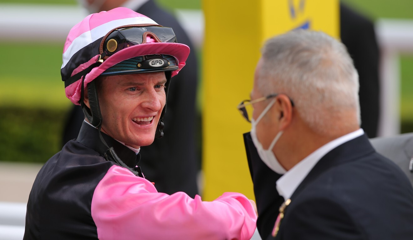 Zac Purton is all smiles after snapping his run of outs aboard Beauty Angel.