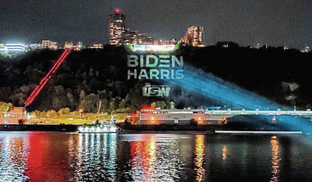 A building in Pittsburgh, Pennsylvania, is lit up with a Biden-Harris campaign display, paid for by United Steelworkers. Photo: Handout