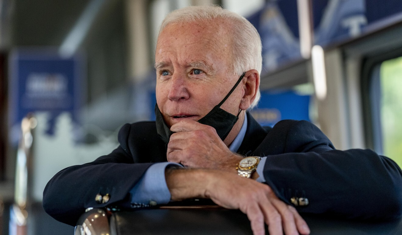Democratic presidential candidate Joe Biden aboard his train as it travels to Pittsburgh on September 30. Photo: AP