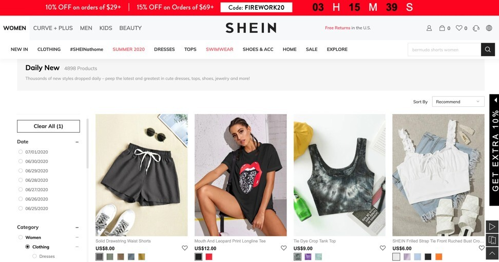 Shein offers low-cost styles, uploading hundreds of new designs to its app every week. Photo: Shein