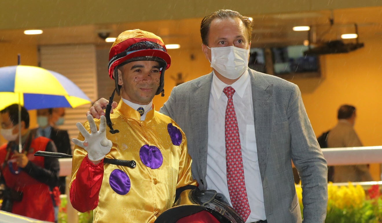 Jockey Joao Moreira celebrates his four-timer on Wednesday night after saluting on Columbus County for Caspar Fownes.