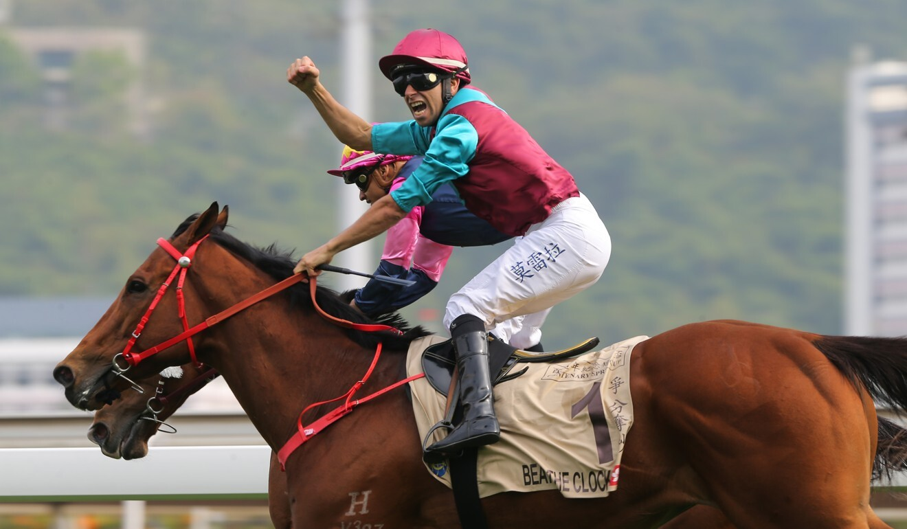 Joao Moreira pumps his fist as Beat The Clock takes out the 2020 Centenary Sprint Cup.