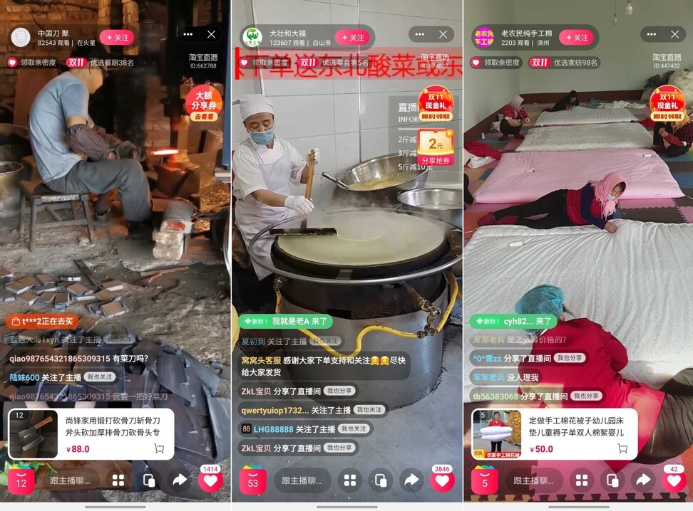 A blacksmith sharpening a chopping knife, a giant pancake maker, and elderly women making quilts were some of the live-streaming offerings during this year's Singles' Day shopping festival. Picture: Screenshots of Taobao Live